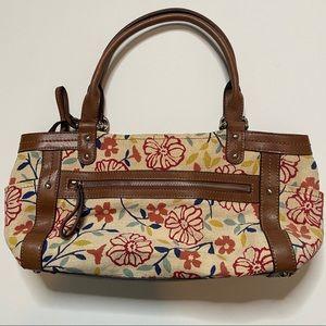 Fossil Floral Leather Canvas Shoulder Bag